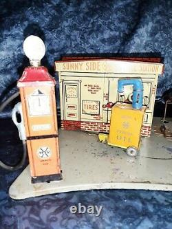 1930 MARX Sunny Side Service Station Tin Litho Toy Vintage Art Deco illuminated