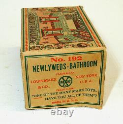 1930s vtg Marx Newlyweds BATHROOM Tin Litho Art Deco Doll House Toy #192 BOX