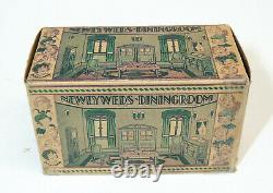 1930s vtg Marx Newlyweds DINING ROOM Tin Litho Art Deco Doll House Toy #194 BOX