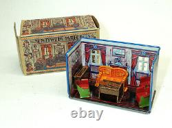 1930s vtg Marx Newlyweds PARLOR Tin Litho Art Deco Doll House Toy #193 BOX