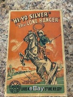 1938 LOUIS MARX TIN WIND UP HI-YO SILVER LONE RANGER ON HORSE VINTAGE TOY with box