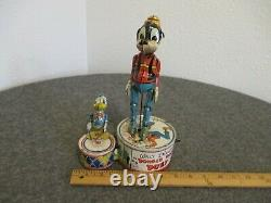 1940's Vintage Marx Walt Disney Donald Duck & Goofy Duet Tin Windup Toy Run/stop