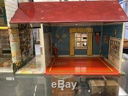 1949 Marx Tin Litho Metal Dollhouse Disney Mickey Mouse Room W Garage VG HTF
