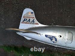 1950s Pan Am Metal Plane Toy Silver Vintage Airplane Jet Tin w propellers MARX