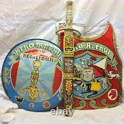 3 Pc Vintage Tin Luis Marx Toy King Arthur Sheath Excalibur Chest Shield & Guard
