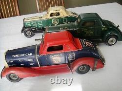 3 Vintage 1930s Louis Marx Tin Litho Wind-up Police Vehicles Heavy 15