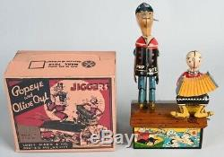ANTIQUE VINTAGE MARX POPEYE AND OLIVE OYL DANCING JIGGER TIN TOY 1936 with Box
