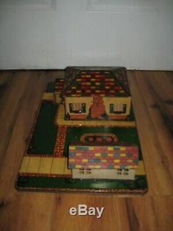 Antique VTG 1950s Marx Tin Litho Honeymoon House Garage Platform Rare Train Set