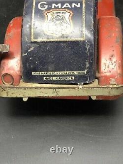 Antique Vintage Tin Toy Wind Up Louis Marx G-Man Pursuit Car