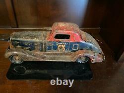 Antique Vintage Tin Toy Wind Up Louis Marx G-Man Pursuit Car-LITHO. 11403