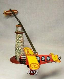 Awesome Old Louis Marx Vintage Sky Flyer Wind Up Tin Airplane Plane Blimp Toy