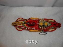 CLEAN Vintage Marx Flash Gordon Rocket Fighter 5 Wind Up Tin Toy 4A1