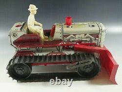 MARX 1950s CLIMBING TRACTOR SPARKLING BULLDOZER BLADE WINDUP TOY TIN MIB VINTAGE