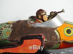 Marx 1934 Vintage Buck Rogers Police Patrol Tin Windup Rocket Ship
