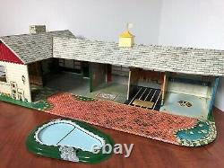 Marx 1953 California Ranch withPool Doll Doll House Tin Metal Antique