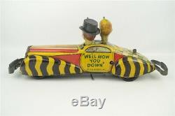 Marx Charlie McCarthy & Moritmer Snerd Vintage 1939 Private Car Wind up Tin Toy