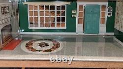 Marx Large Tin Metal 2 Story Center Hall Colonial Dollhouse with Florida Room