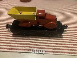 Marx RARE Vintage 1930s Tin Train car, O gauge Flat Car with Dump Truck