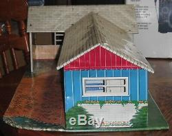 Marx Tin Litho Ranch Dollhouse, Vintage Kids Toy Playhouse 1950s Accessories Etc