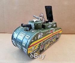 Marx Tin Litho Windup US Army Doughboy Tank 1950s Toy With Key Working Vintage
