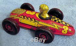 Marx Vintage Race Car Tin Litho. Windup w / Motor Sound Excellent