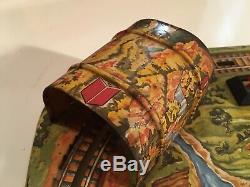 Marx Vintage Tin Lithograph Wind Up Train Set On Track