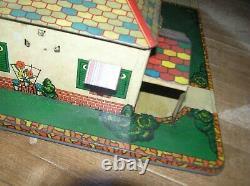 Marx Vintage Tin Lithographed House, Garage on Platform 11 x 17