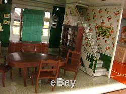 Marx Vintage Tin Metal Doll House 1950's with Original Furniture (B)