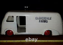 Original vintage marx cloverdale farms pressed steel milk toy truck tin toy lot