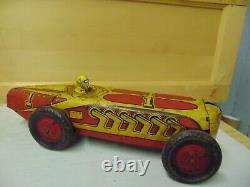 RARE VINTAGE MARX # 1 circa1930-40s TIN TOY OPEN WHEEL INDY RACE CAR 13.75