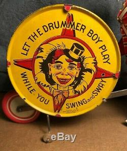 RARE Vintage Marx Let The Drummer Boy Play Wind-Up Tin Toy Works