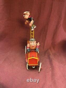 RARE! Vintage Marx Popeye & Bluto Funny Fire Fighters Tin Litho Celluloid
