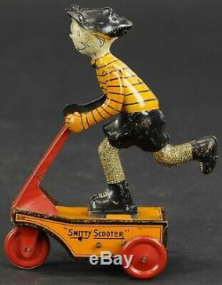 RARE Vintage Marx Tin Smitty Scooter Wind Up Toy (1920s)