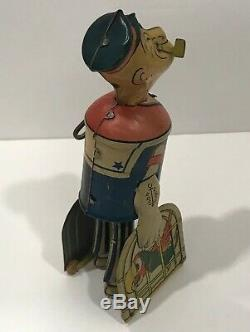 RARE Vintage POPEYE With Parrots In Cages Wind-Up Walking Tin Toy With Key Works