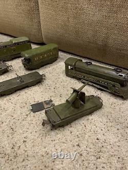Rare Marx Army Supply Train 500 Tin Toys Locomotive Car lot vintage