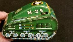 Rare Vintage 1950s Marx M-25 Superman Tin Wind Up Green tank WORKS