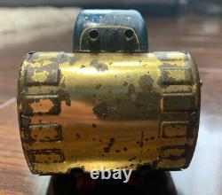 Rare Vintage 1950s Marx Superman Tin Wind Up Turnover Tank. Gold version tank