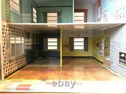 Rare Vintage Marx 1960's 124 Tin Split Level Dollhouse Yellow Grey Aqua
