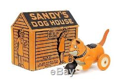 Rare Vintage Marx Sandy's Dog House Orphan Annie's Dog Tin Wind-up Still Works