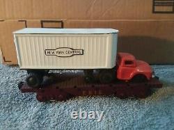 Rare Vintage Marx Tin New York Central Trailer/Truck on Erie Flat Train Car. NM