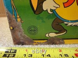 Rare! Vintage Marx wind up, tin toy dart gun target, mechanical shooting gallery