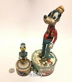 Rare Vintage Walt Disney Donald Duck & Goofy Duet Wind Up Tin Toy by Marx Toys
