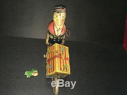 Rare Vtg 1930's Marx Popeye Express Litho Tin Windup Toy Cart w Parrot