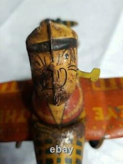VINTAGE 1930's MARX tin litho toy POPEYE THE PILOT wind up RARE plane airplane