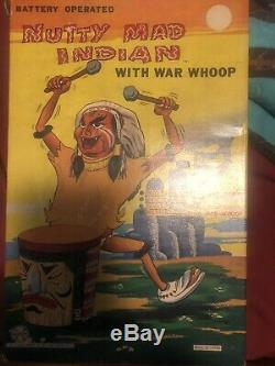 VINTAGE BATTERY OP. TIN LITHO MARX NUTTY MAD INDIAN WithBOX