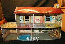 VINTAGE LARGE TIN METAL PLAY DOLL HOUSE 2 STORY MARX Antique Toy Walls Childs