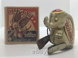 VINTAGE MARX DUMBO Original Tin Toy And Box Disney Rare Wind-up