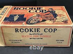 VINTAGE MARX ROOKIE COP ON MOTORCYCLE WINDUP TIN TOY WithBOX
