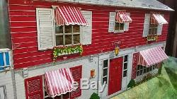 VINTAGE MARX TIN 2 story DOLLHOUSE with garage all 5 awnings nice condition