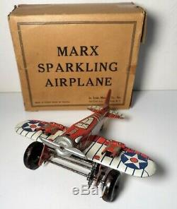 VINTAGE MARX TIN WINDUP RED US ARMY SPARKLING AIRPLANE with BOX